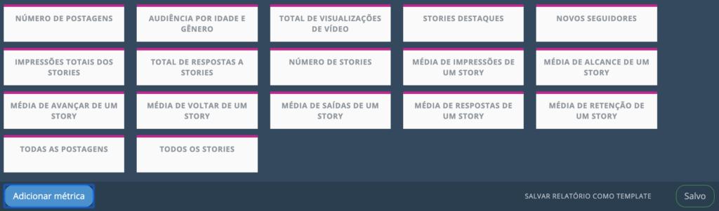 adicionar metricas stories