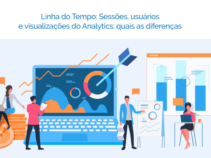 Computador onde são analisadas as métricas do Google Analytics