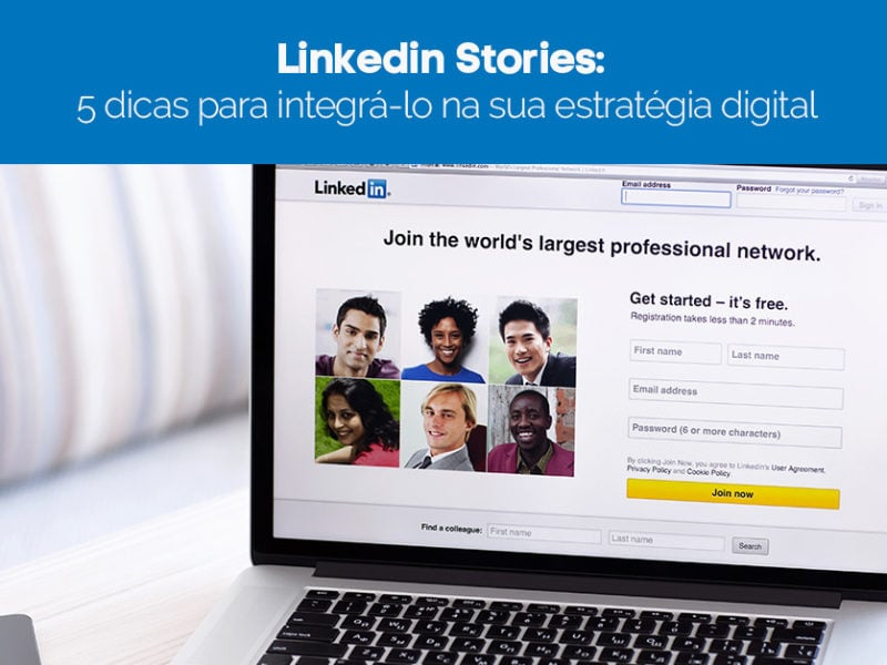 Tela de computador aberta no LinkedIn Stories