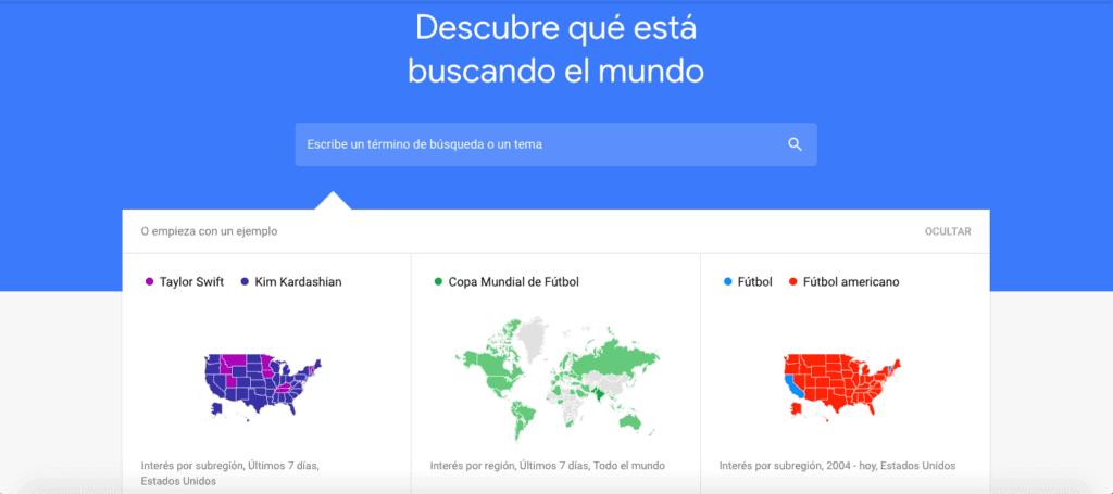 sección agrupa las búsquedas que han sido tendencia en Google