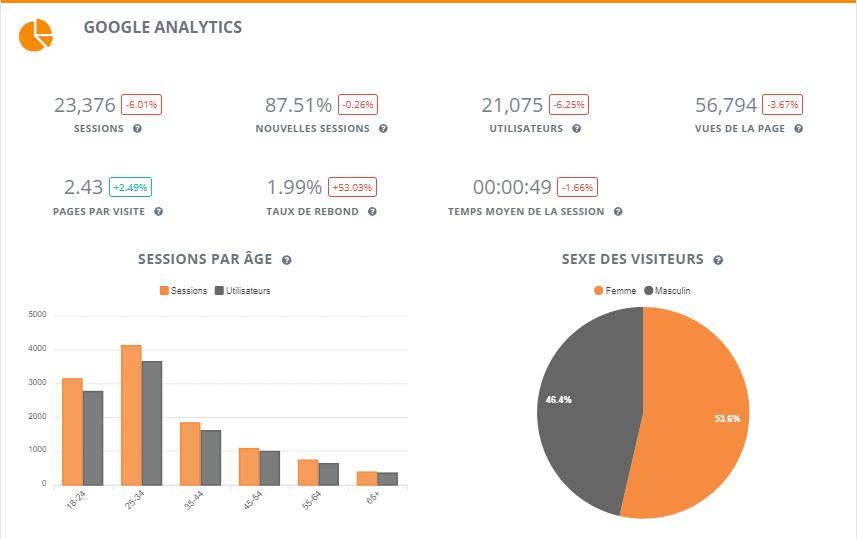 Rapports sur Google Analytics